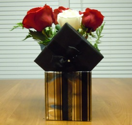how to make a floral gift box centerpiece