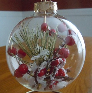snow berry glass ball ornament