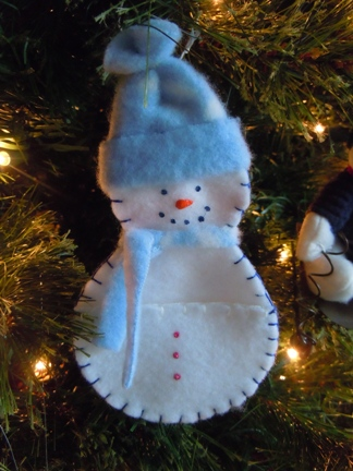 Pocket Snowman Christmas Ornament Sewing Pattern Christmas Craft Idea