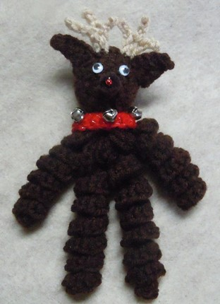 Christmas crochet pattern, reindeer ornament