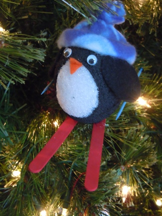 skiing penguin christmas craft