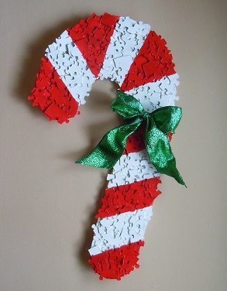 puzzle piece candy cane christmas decoration candy cane made from recycled puzzle pieces