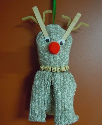 sock reindeer welcome sign