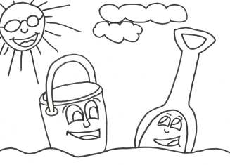 Beach with bucket & shovel coloring page