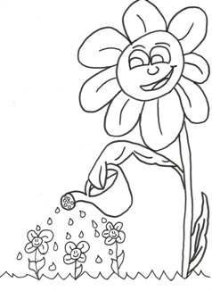 Daisy watering flowers coloring page
