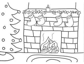 Fireplace Coloring Page Stockings Pdf