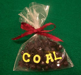 bag of coal Christmas ornament - craft instructions