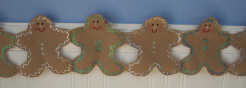 Gingerbread garland craft made from paper