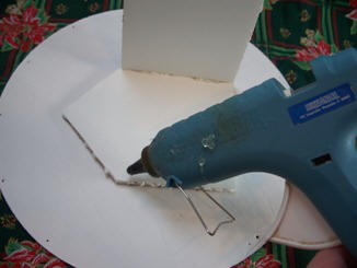 Hot glue the foam core to assemble your gingerbread house
