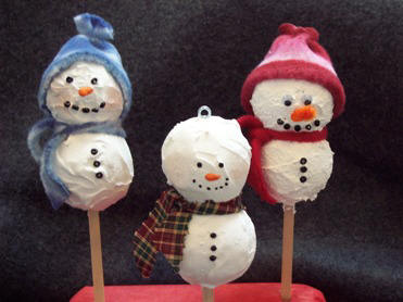 how to make snowman ornaments from styrofoam balls
