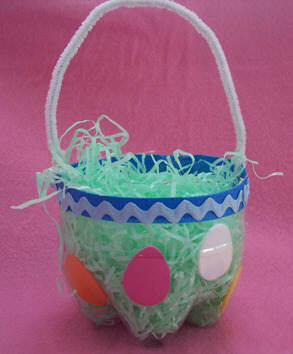 how to make an Easter basket from a recycled soda bottle