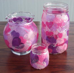 Valentine 39 s Day craft ideas Decoupage Valentine Heart vase and candle holder