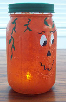how to make a pumpkin light from recycled canning jar
