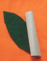 Make a stem from craft paper and a leaf from felt