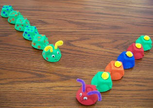 craft ideas for kids - egg carton caterpillar