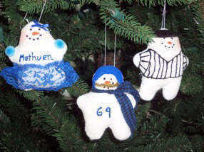 Snowman football & cheerleader ornaments
