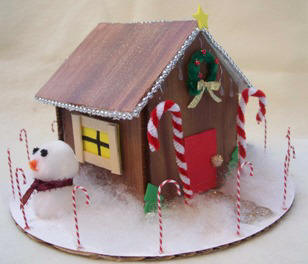 Make a gingerbread house decoration from foam core board