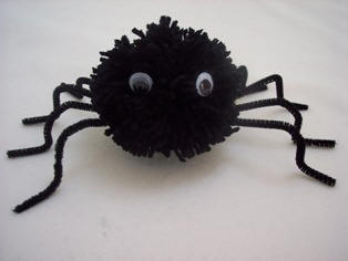 how to make a spider from pompoms and pipe cleaners