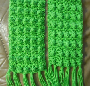 Popcorn Stitch Scarf Crochet Pattern - double sided