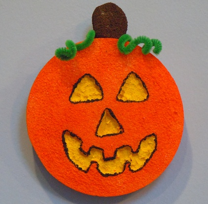 Kids Halloween Crafts; Styrofoam Pumpkin Halloween Decoration