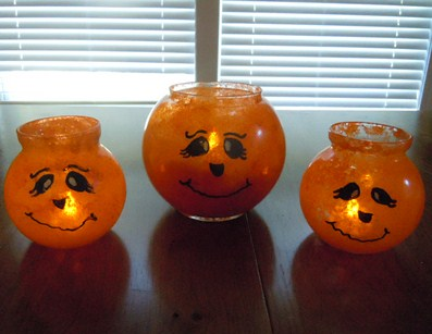 how to make a candle holder; pumpkin lights