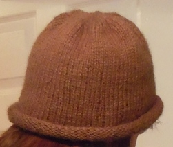 how to knit a rolled edge hat