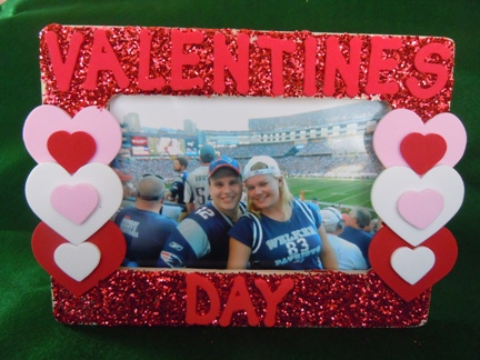 Valentine craft ideas, glitter and craft foam picture frame