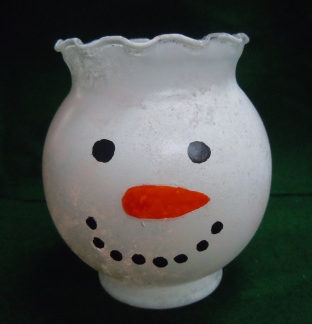 painted snowman candy dish